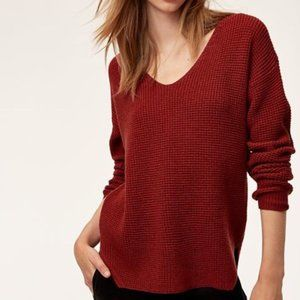 Wilfred Free Wolter Burgundy waffle knit sweater